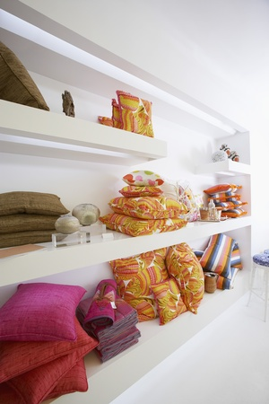 furniture store: Shelves of Pillows in Furniture Store