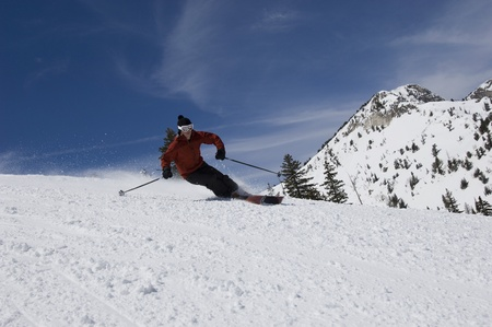 Skier Skiing Down Slope Stock Photo - 12737045