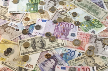 us paper currency: American British and Euro paper currency LANG_EVOIMAGES