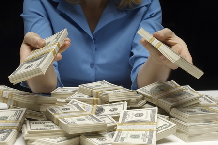 cropped off: Woman Counting Money