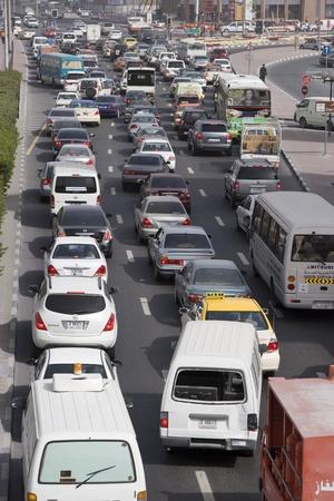 Dubai UAE Traffic is backed up on Al-Maktoum Road in Deira, traffic in Dubai during morning, Stock Photo - 12737485