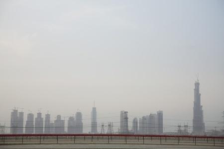 racetrack: Dubai UAE Dubai's skyline from Nad Al Sheba Camel Racetrack