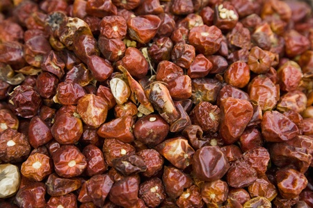 souq: UAE Dubai dried whole red peppers for sale at the spice souq in Deira