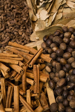 UAE Dubai cinnamon sticks and other spices for sale at the spice souq in Deira Stock Photo - 12737515