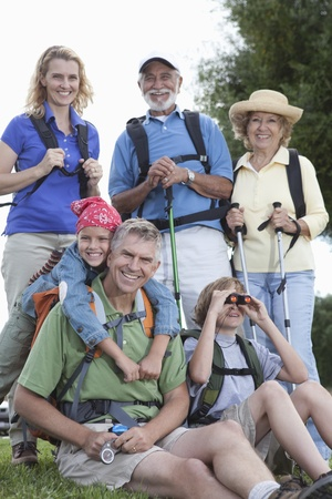 Family with walking equipment Stock Photo - 12737591