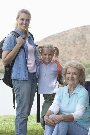 Mother daughter and grand-daughter camping holiday portrait Stock Photo - 12737612