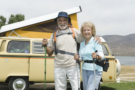 campervan: Senior couple and campervan