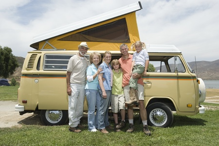 Three generational family with campervan Stock Photo - 12735588