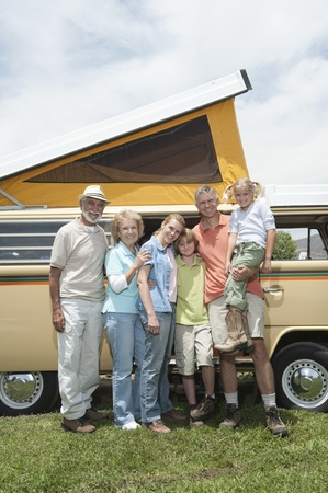 Three generational family with campervan Stock Photo - 12735584