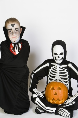 Portrait of boys (7-9) wearing Halloween costumes Stock Photo - 12737700