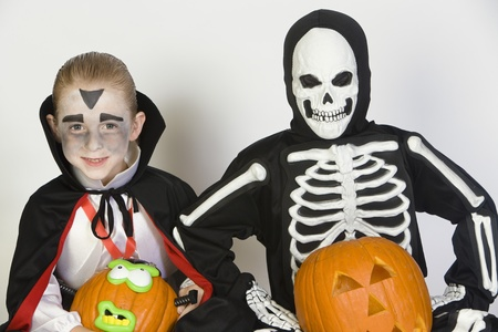 Portrait of boys (7-9) wearing Halloween costumes Stock Photo - 12737701
