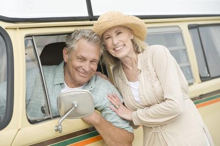campervan: Senior couple with campervan
