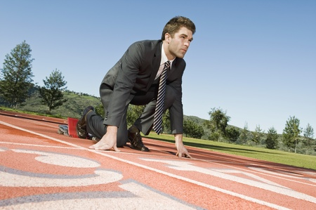 one mid adult man only: Businessman At Starting Blocks