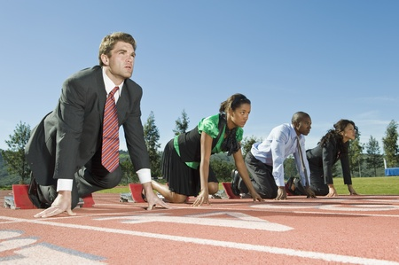 multi race: Business People At Starting Blocks