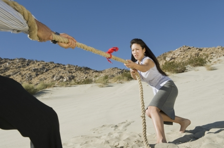 battle of the sexes: Two Business People Playing Tug of war in the Desert