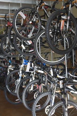 Bicycles on display in a bike store Stock Photo - 12735540