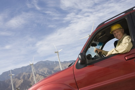 Senior man in truck at wind farm Stock Photo - 12737830