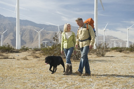casual hooded top: Senior couple walking with dog near wind farm