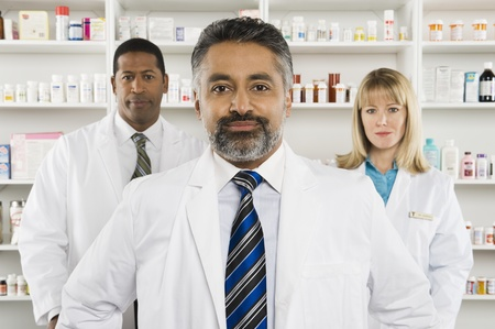 greying: Three pharmacists portrait