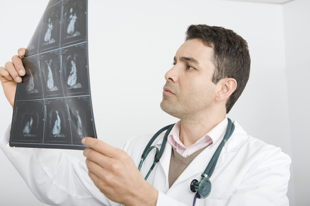 Mid adult doctor examines x-ray Stock Photo - 12738092