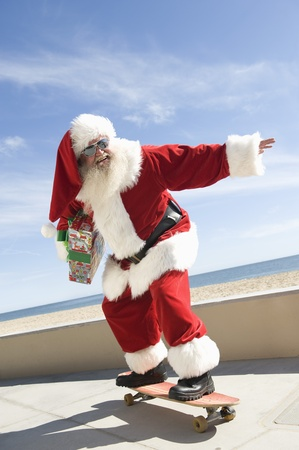 Father Christmas skateboards Stock Photo - 12738137