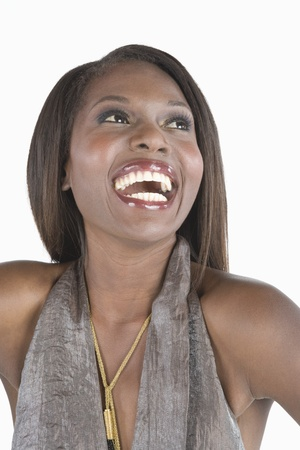 halterneck: Model in grey halter laughing