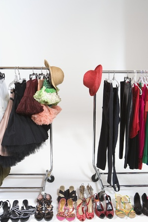 clothes rail: Fashion hats and accessories on clothes rail LANG_EVOIMAGES