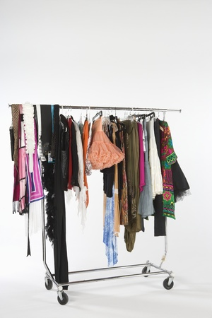 Selection of clothes on a rail Stock Photo - 12738188