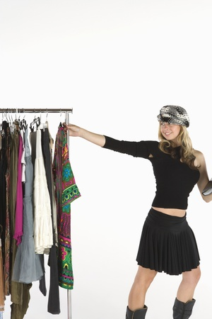 clothes rail: Fashion stylist with clothes rail