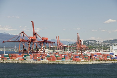 Cranes and cargo containers in Vancouver Harbour British Columbia Stock Photo - 12738230