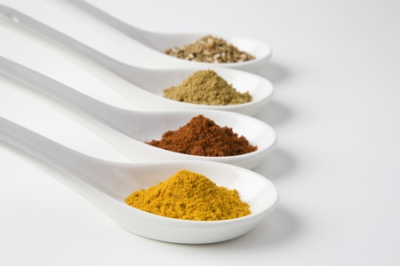 Turmeric chilli cumin and chinese 5 spice Stock Photo - 12738258