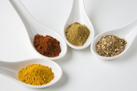 Turmeric chilli cumin and chinese 5 spice Stock Photo - 12738259