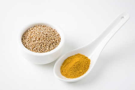 Mustard seeds and turmeric Stock Photo - 12738261