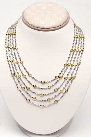 18k white and yellow gold five strand necklace with 44 carats of diamonds Stock Photo - 12738397