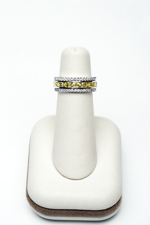 3 platinum stackable rings with 2,75 carat yellow oval diamonds and 1,00 carat full cut diamonds Stock Photo - 12735536