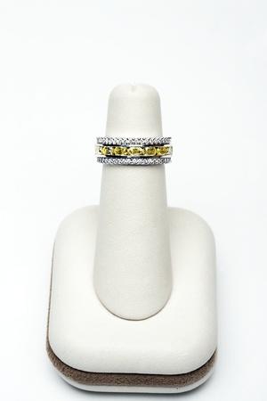 3 platinum stackable rings with 2,75 carat yellow oval diamonds and 1,00 carat full cut diamonds Stock Photo - 12735536