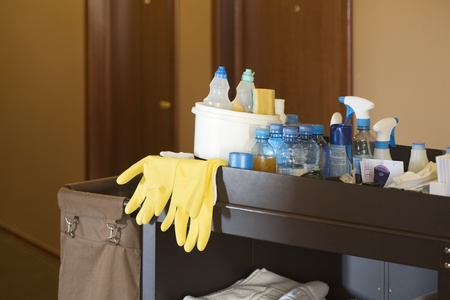 Cleaners trolley in a hotel Stock Photo - 12738457