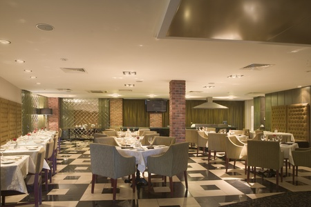 L'interno di una sala da pranzo dell'hotel Archivio Fotografico - 12738459