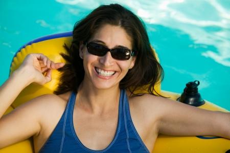 float tube: Woman on Float Tube