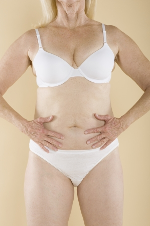 partially nude: Woman with hands on her belly