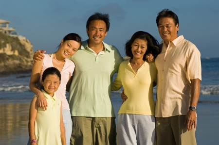 girls at the beach series: Family with girl (7-9) on beach (portrait)