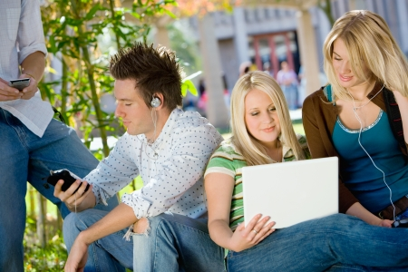 high school series: Students relaxing outdoors