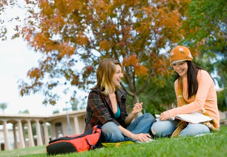 high school series: Students studying on campus