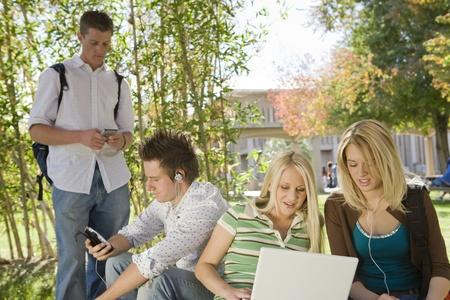 having a break: Young students having a break