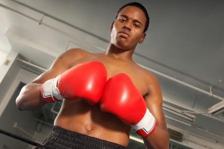 arrogancia: Boxeador con los guantes de boxeo rojos en el gimnasio de media longitud