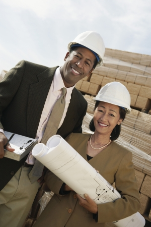 racially diverse: Surveyors on Construction Site LANG_EVOIMAGES