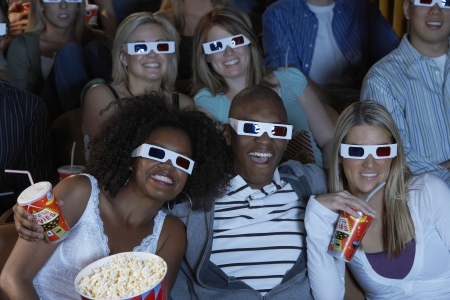 racially diverse: Audience Watching 3-D Movie