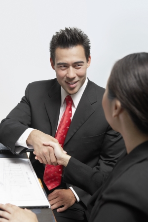 Businessman and Businesswoman Shaking Hands Stock Photo - 18833823