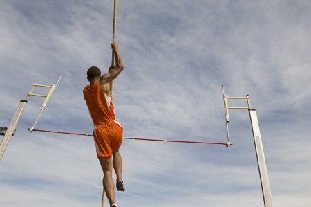 vaulted: Pole vaulted taking off, low angle view