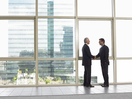 man side view: Businessmen shaking hands in office building